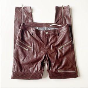 Zara Faux Leather Zipper Moto Pants in Oxblood